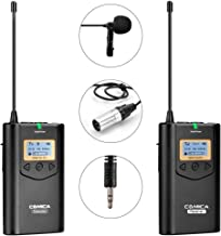 Comica CVM-WM100 UHF Channels Professional Omnidirectional Wireless Lavalier Lapel Microphone System for Canon II 5D III  Canon 6D  Panasonic GH5 GH4  Camcorder Smartphone 328-foot Range