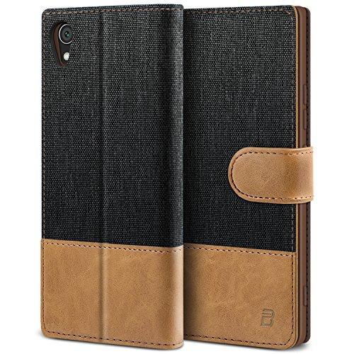 BEZ Hülle für Sony Xperia XA1 Hülle, Handyhülle Kompatibel für Sony Xperia XA1, Handytasche Schutzhülle Tasche Case [Stoff & PU Leder] mit Kreditkartenhaltern, Schwarz