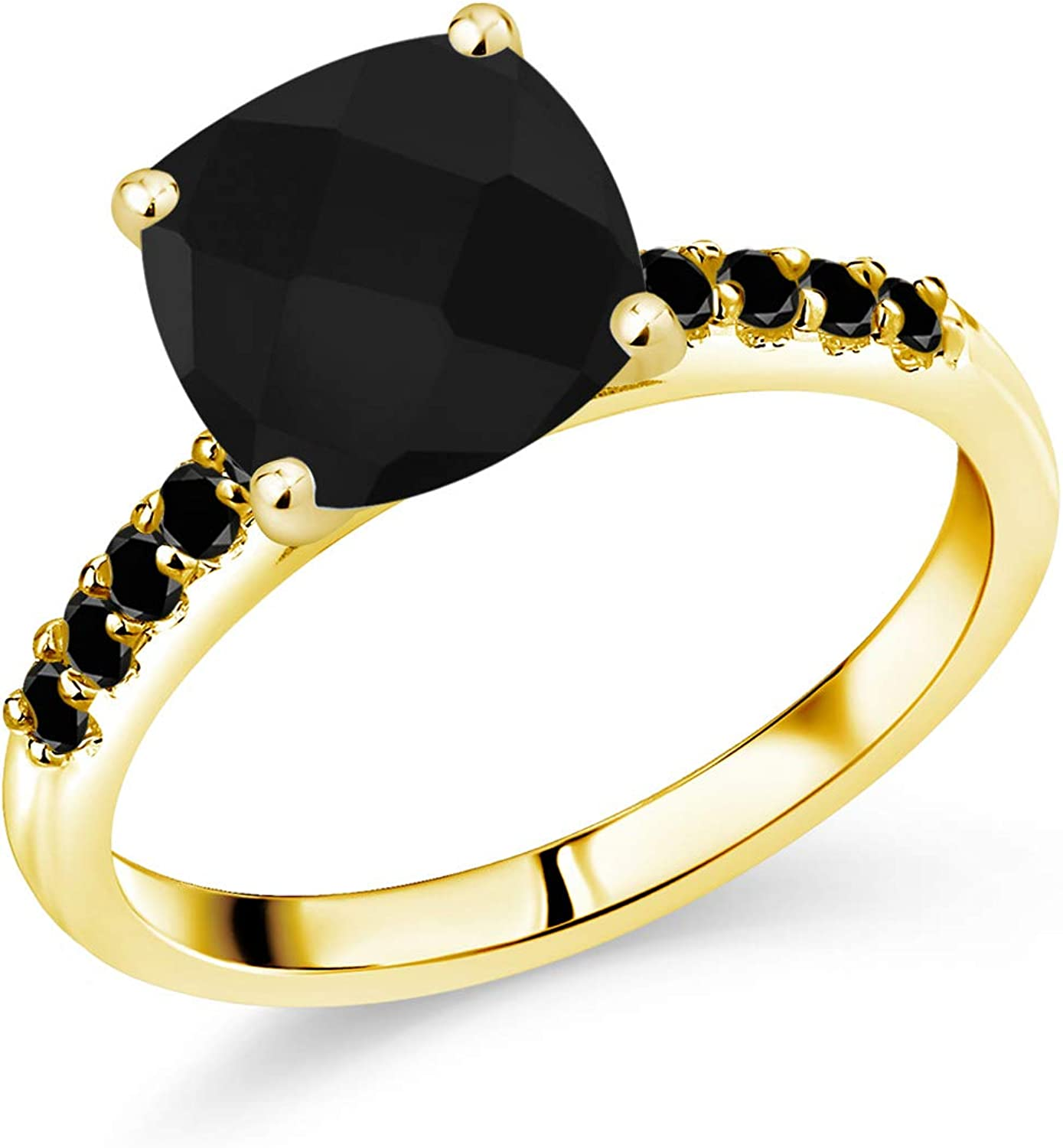 Gem Stone King 10K Yellow Gold Black Onyx and Black Diamond Women Engagement Ring (2.44 Ct Cushion Checkerboard Cut, Available in size 5, 6, 7, 8, 9)