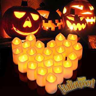Litake Halloween LED Candle Lights,Flickering LED Pumpkin Lights, Battery Operated LED Votive Candles, Warm White Romantic...