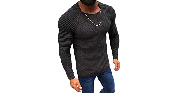 Jmwss QD Mens Casual Striped Long Sleeves Crewneck Sweateshirt Pullover