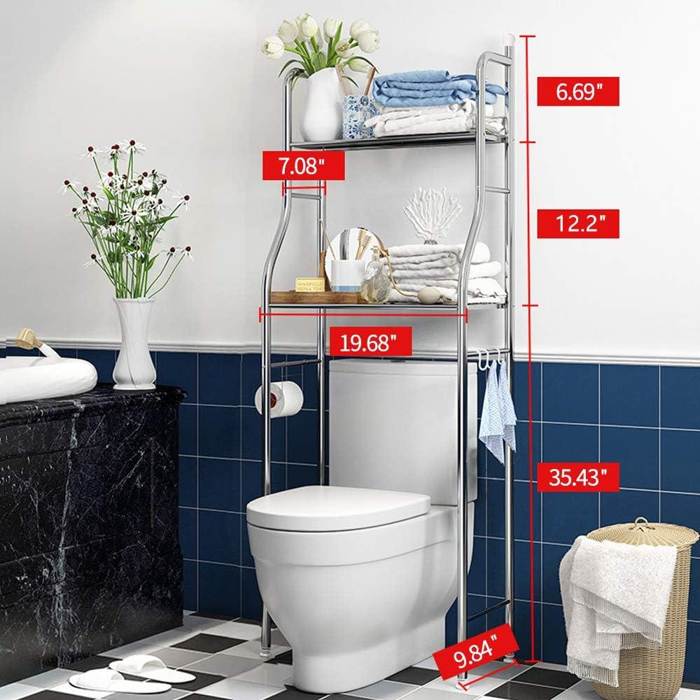 Medium 2-Tier Kawartha Bay Bathroom Organizer Over The Toilet,3-Tier Bathroom Shelf Over The Toilet Storage Bathroom Spacesaver.