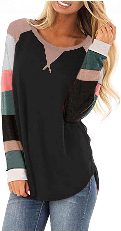felwors Sweatshirt for Women,Womens Long Sleeve Color Block Shirts Crewneck Sweatshirts Casual Blouses Tunic Pullover