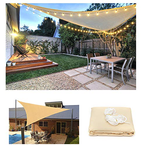 HOXMOMA Dreieck Sonnensegel Sonnenschutz mit LED-Leuchten, Windschutz Wetterschutz Wasserabweisend 95% UV Schutz für Garten Balkon Outdoor Terrasse Camping Party, Beige,Beige,3.6x3.6x3.6m