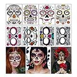 Tatuajes temporales de cara de Halloween Kit de maquillaje, 8 hojas, día de los muertos, máscara facial completa, tatuajes temporales para hombres y mujeres (Cara Tatuajes)
