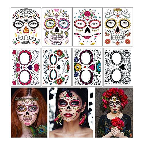 Tatuaggi temporanei per il viso di Halloween, 8 fogli Tatuaggi temporanei per uomini e donne con teschio di zucchero nero per il giorno dei morti (tatuaggi Viso)