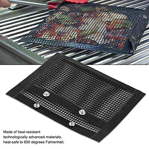 FIREPANDA Non-Stick-Mesh-Web BBQ Barbecue Grilltasche Korb Grill BBQ Net Mat Fleisch wiederverwendbar Backen Fleisch Tasche Outdoor Picknick-Tool, 27x22cm