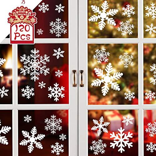 Fensterbilder Weihnachten, 120 Stück Fensterdeko Schneeflocken, Deko Weihnachten, Fensterbilder Weihnachten Selbstklebend, Fenstersticker Weihnacht, Fensteraufkleber Weihnachten Fensterbilder Winter