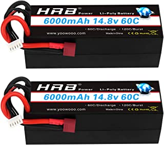 HRB 2PCS 4S 6000mAh 14.8V 60C High Capacity Lipo Battery Hardcase with Dean's T Plug for 1/8 1/10 Scale Electric RC Buggy ...