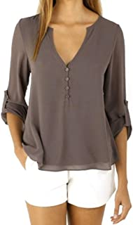 Womens Loose Long Sleeve Chiffon Casual Blouse Shirt Tops Fashion Blouse