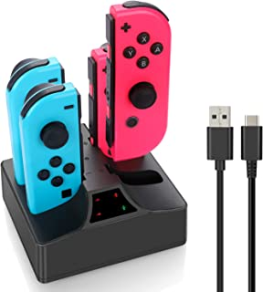 Switch Controller Charger, Joy con Charging Dock Station for Nintendo Switch Joycon Controller with 5ft Type C Cable