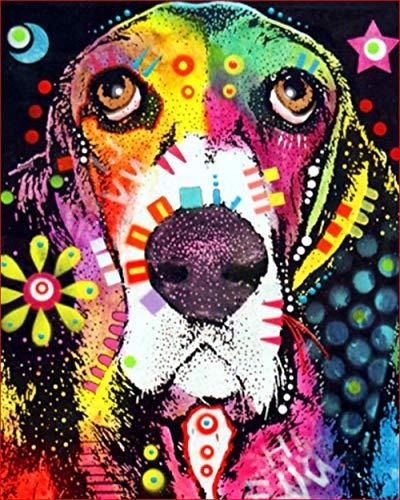 Hanzeze Pintar por Numeros Perro Animal Principiantes Pintura en Lona Kits de Pinceles para el Arte de la Pared Imagen Decoración del hogar Ilustraciones 40x50cm Sin Marco