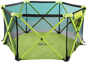 WJSW Baby Playpen Polygonal Collapsible Child Protection Fence Play Pen  Washable Portable Ball Pool Child Safety Activity Center  color Green  Size Seven-sided guardrail
