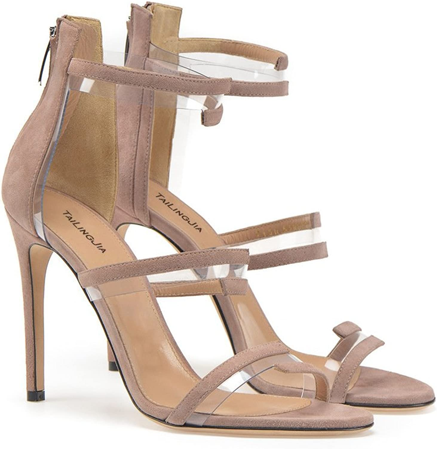 Women's shoes PU Spring Summer Club shoes Gladiator Sandals Stiletto Heel Round Toe Zipper for Wedding Party & Evening Dress