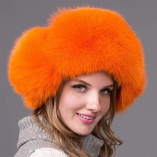 Guomao Female Winter Hat Ear Cap Hezi Whole Skin Fox Fur Hat Fox Fur Hat Fur Hat Millinery (Color : Orange)