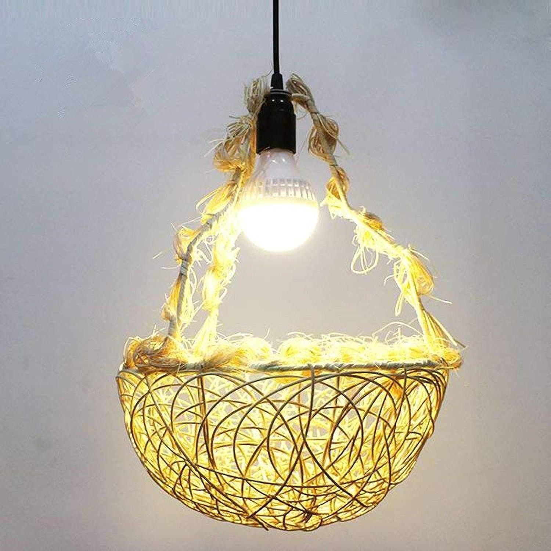 DLC@ED Novely Chandeliers- Creative Grass rougein lumière E27 Abat-jour Restaurant Balcon Chambre Allée éclairage (ampoule non incluse) salon FFaibleer Basket Beige 30cm