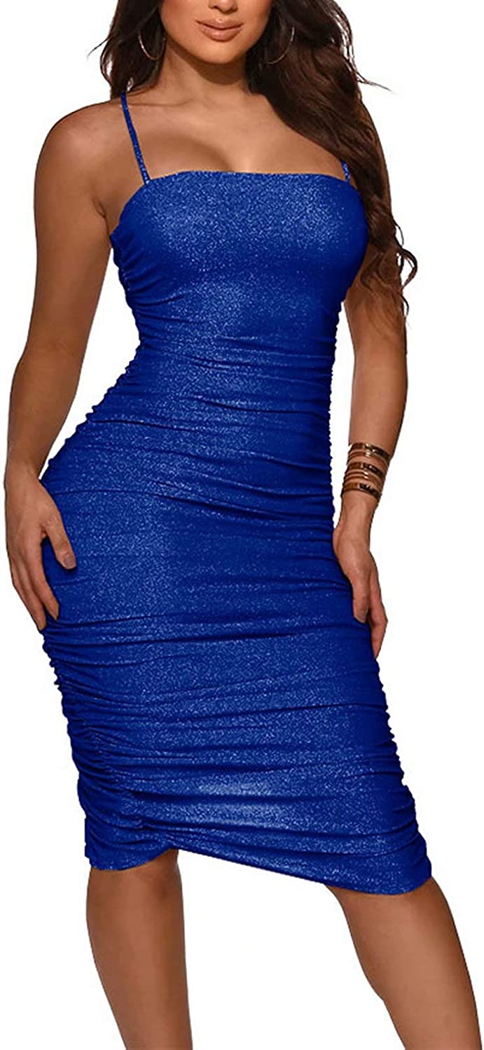 Women Sexy Bodycon Spaghetti Strap Split Dress Knee Length Sequin Sparking Ruched Party Clubwear Dress