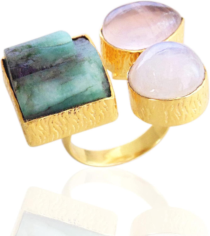 Bezel Set Handmade Genuine Emerald, Rainbow Moonstone And Rose Quartz Gemstone Statement Ring