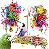 Bird Chewing Toys, Miumiu 3 Pack Bird Toys Parrots Cage Toys Hanging Swing Shredding Chewing Perches Parrot Toy Parrot Bite Toy for Parrots, Parakeets, Cockatiels, Conures, Macaws, Love Birds, Finches