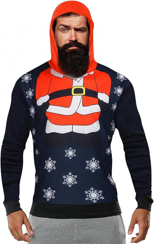 Burband Mens Ugly Christmas Sweater Cute Fleece Reindeer Hooded Sweatshirts Big and Tall Warm Pullover Cardigan Sweaters
