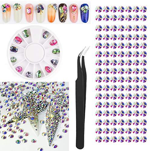 1462 Pcs AB Crystal Rhinestones Nail Art Set with Pick Up Tweezer,3D Nail Art Decor Flatback Beads Charms Gems Stone Rhinestone Decorations for Nail Art DIY Phones Jewelry Makeup (Crytal AB-Princess)
