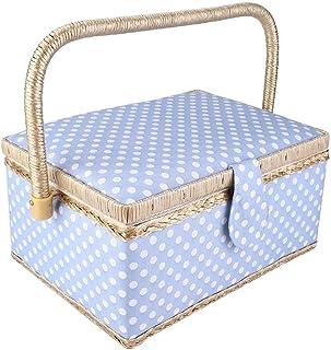 水玉柄の布 ソーイング ボックス 裁縫 箱 裁縫セット 縫製バスケット 小物収納 裁縫用品 磁気ボタン 収納力抜群 ソーイングセット