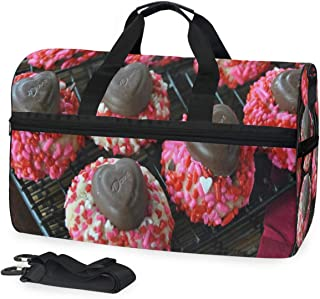 Valentine's Day Bean Cookies Gym Bags for Men&Women Duffel Bag Casual Fashion Bag with Shoe Compartment