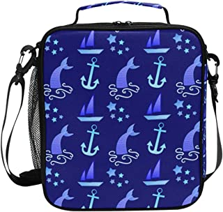 Insulated Lunch Bag with Geometric Sea Anchor Boat Print, Lunch Box Cooler Bag with Shoulder Strap for School Picnic