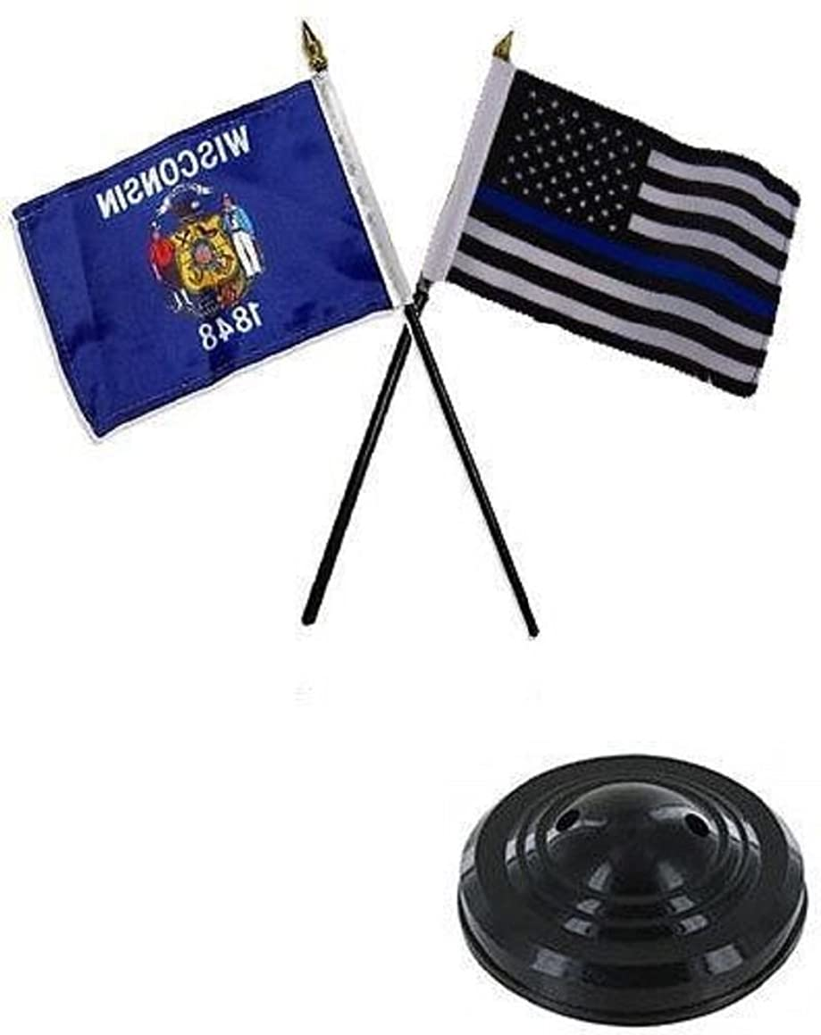 K's Novelties Wisconsin State & USA Police Blue 4