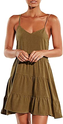 fc7b9f9533 Ruffled Strap Dress - ✓ Hypothesis_X ☎ V Neck Party Dresses for Women Summer  Casual Linen