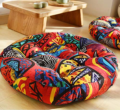 GE&YOBBY Round Thick Linen Tatami Seat Cushion,Modern Fabric Floor Cushion,Flower Printed Large Vintage Seat Pad for Car Kids Office Patio Floor Yoga C 56cm in Diameter.