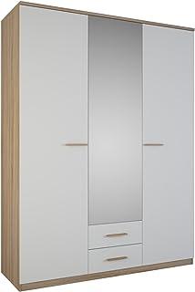 Demeyere Selena Armoire Chambre Adultes avec Miroir 3 Portes, 2 tiroirs, Style scandinave, Panneaux de Particules 15mm, Ch...