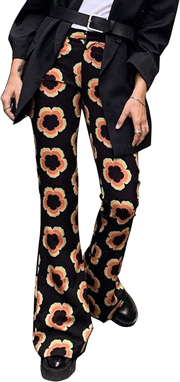 Women Y2k Flare Pants Casual Vintage Floral High Waist Palazoo Trousers Bell Bottom Wide Leg Stretch Pants