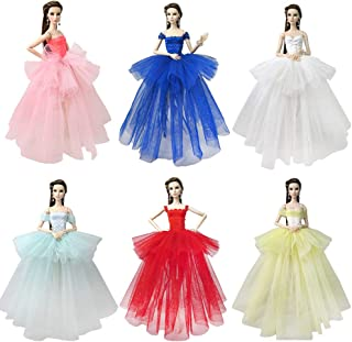 BARWA Lot 7 Pcs Doll Dresses Handmade Fashion Wedding Party Ball Gown Lace Dresses Outfits for Barbie Doll Clothes Birthday (Lot 6 pcs Dresses)