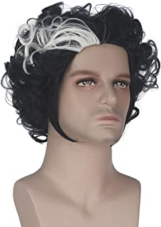 Miss U Hair Short Curly Black with White Strands Men Adult Party Costume Cosplay Wig