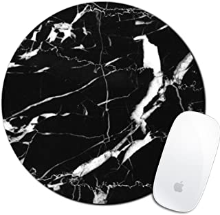 Royal Up Black Marble Custom Mouse Pad Gaming Mat Keyboard Pad Waterproof Material Non-slip Personalized Round Mouse pad (7.8x7.8x0.08Inch)