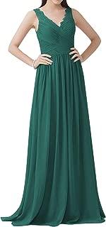 Bridesmaid Dress Chiffon Long Evening Gowns for Wedding A line Prom Dress V Neck