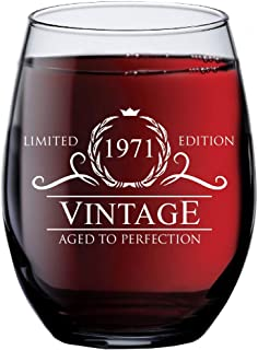 1971 48th Birthday Gifts for Women Men   15 oz Stemless Wine Glass   48 Year Old Gift Present Ideas for Mom Dad   Funny Vintage Unique Personalized   Party Anniversary Reunion Decorations Supplies