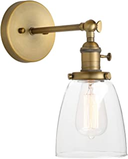 Pathson Vintage Wall Sconce with On Off Switch, Clear Glass Shade Brass Vanity Light, Indoor Wall Lighting Fixtures for Bathroom Bedside Garage Porch Cafe Club