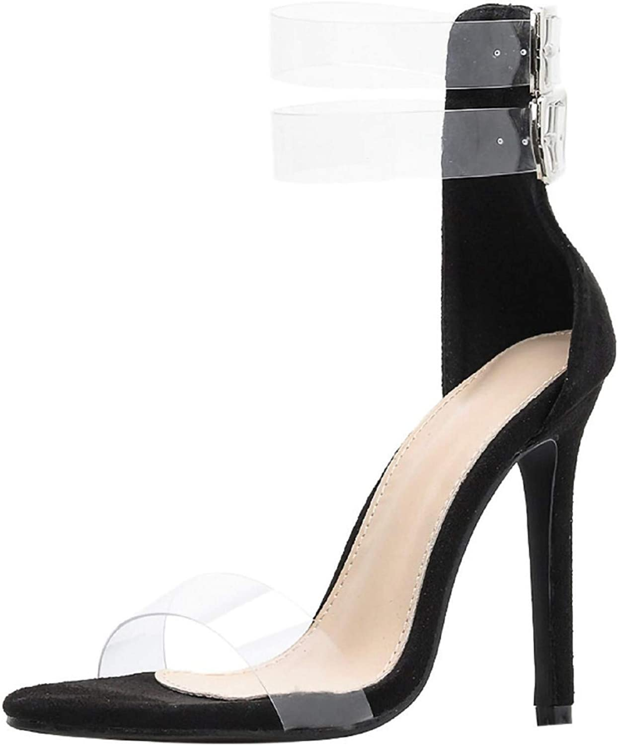 WuyiMC Wome shoes Women's Transparent Open Toe Ankle Buckle Strappy High Heel Dress Sandals