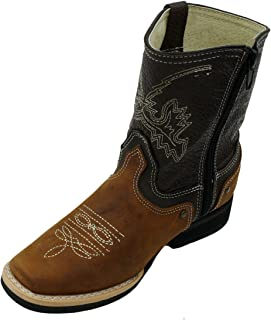 Kids Unisex Genuine Leather Western Rodeo Cowboy Side Zipper Boots Tan Cafe-Toddler-9