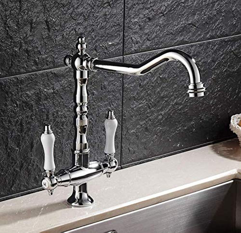 Wasserhahn Küche Waschbecken Wasserhahn, Silber Antique, Alle Kupfer Retro-Tankkopf, Amerikanischen Heien Und Kalten Wasserhahn