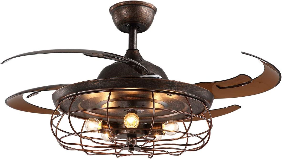 Amazon Com Apbeam Industrial Ceiling Fan With Light And Retractable Fandelier Rustic Remote Control Reversible Blades Caged Chandelier 48 Inch For Living Room Bedroom Kitchen Dining
