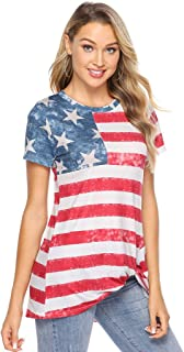 Bellelove Große Größen Damen Mode Lose Bluse Star Stripe T-Shirt Rundhals Kurzarm Elegant Casual Damentwist Knotted Stripe American Flag T-Shirt