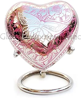 Home Decors Portland Pink Heart Keepsake Urn with Stand & Velvet Box