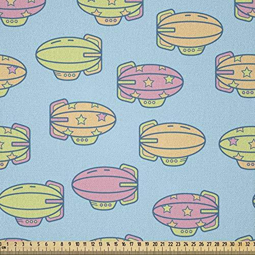 ABAKUHAUS Abenteuer Microfaser Stoff als Meterware, Zeppelin-Figuren, Deko Basteln Polsterstoff Textilien, 2M (230x200cm), Gelb Grün Hellblau und Rosa