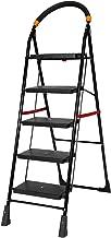 Happer Premium Foldable Step Ladder, Clamber, 5 Steps (Black & Orange)