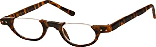 The Hunter Colorful Retro Half Under Frame Rimless Round Vintage Reading Glasses +1.25 Brown Tortoise (Carrying Case Included)