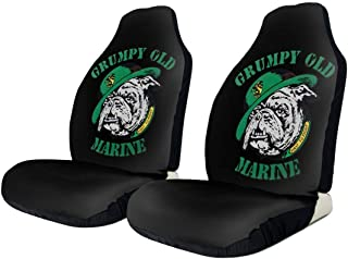 BYKLddljian Grumpy Old Marine Sign Universal 3D Printing Car Seat Cover Elastic Polyester Fabric Front Seat Covers Black for Cars SUV Truck