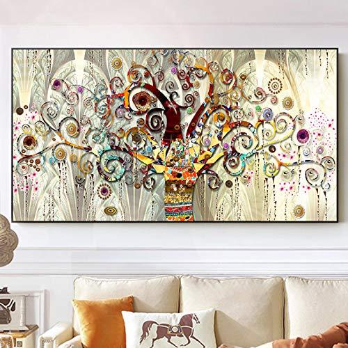 ZYHFBHFBH Albero della Vita Quadri Astratti su Tela Poster e Stampe scandinave Gustav Klimt Famoso Dipinto Decorazioni per Quadri Moderni 80x120 cm (31'x47) Senza Cornice